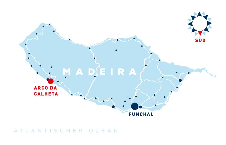 Madeira Karte - Lage Ferienhaus Mar e mais